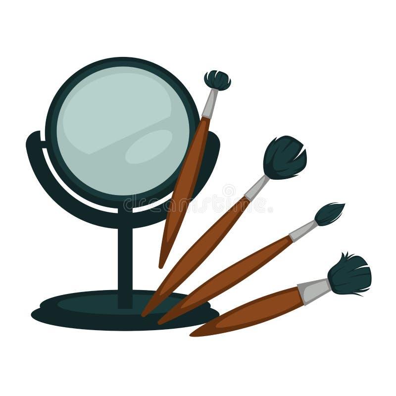 O espelho compacto e as escovas macias para compõem o grupo ilustração stock