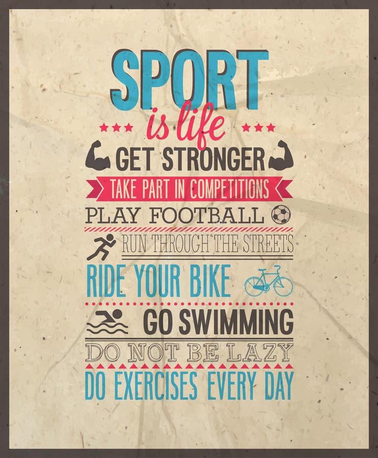 O esporte é vida ilustração do vetor