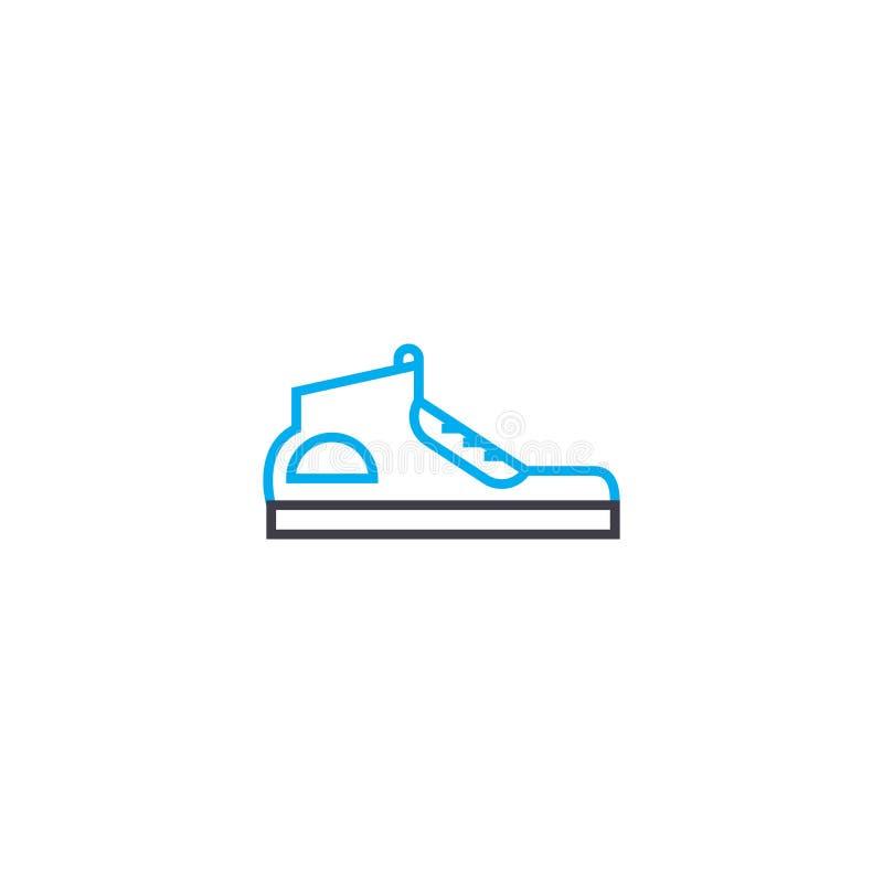 O esporte calça a linha fina ícone do vetor do curso Ostente a ilustração do esboço das sapatas, sinal linear, conceito do símbol ilustração stock