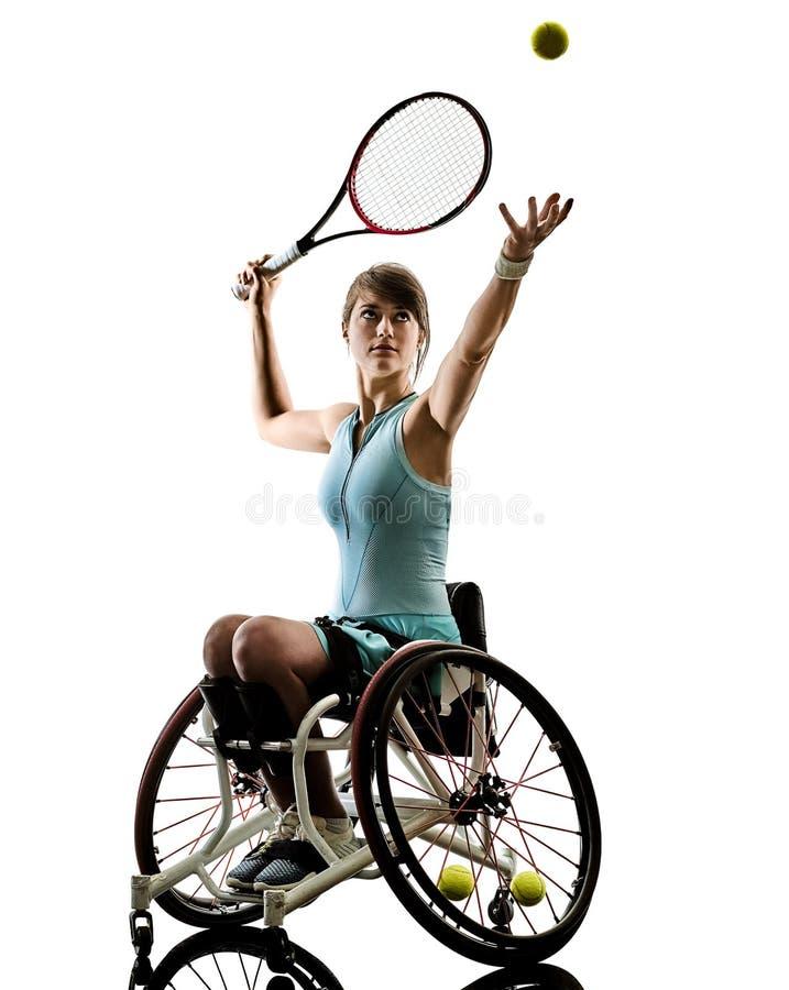 O esporte deficiente novo do welchair da mulher do jogador de tênis isolou o si fotos de stock