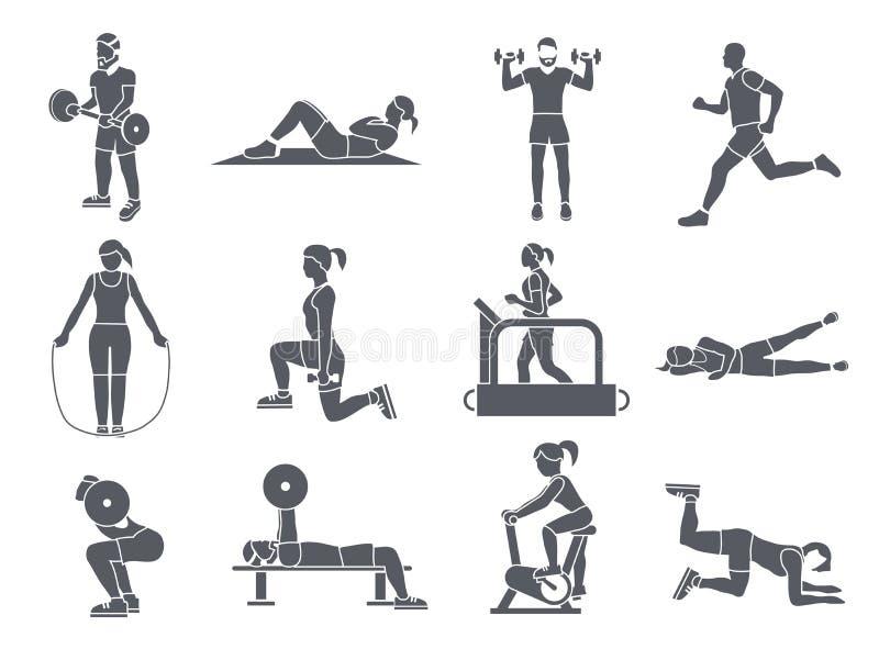 O esporte do Gym exercita ícones ilustração royalty free