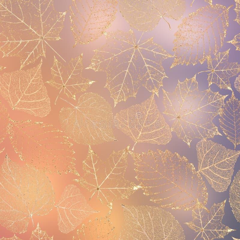 O esqueleto transparente do outono sae do fundo ilustração do vetor