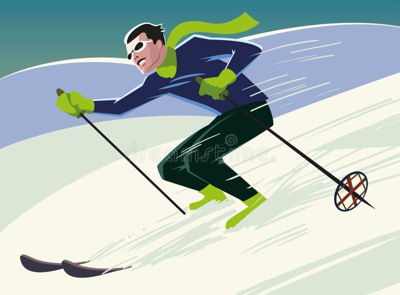 O esquiador da montanha desliza da montanha ilustração royalty free