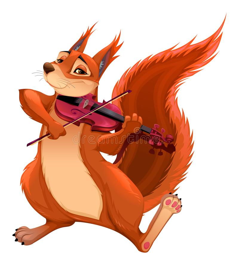 O esquilo engraçado está jogando o violino ilustração do vetor