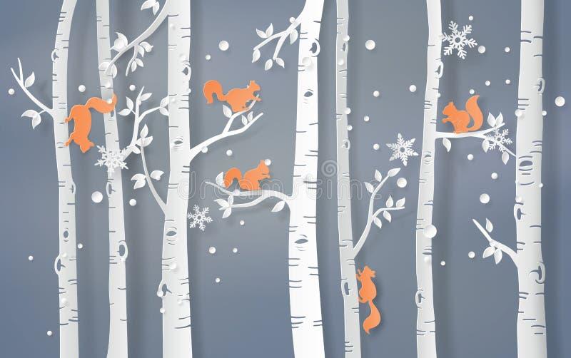 O esquilo está escalando na árvore ilustração do vetor