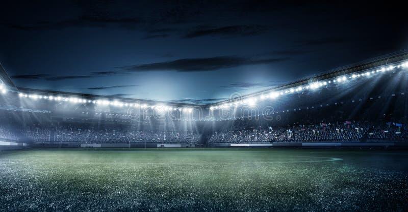 O estádio de futebol do futebol na noite 3d rende ilustração stock
