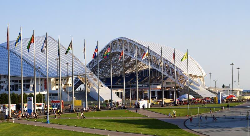 O Estádio Olímpico Fisht em Sochi, Rússia fotos de stock