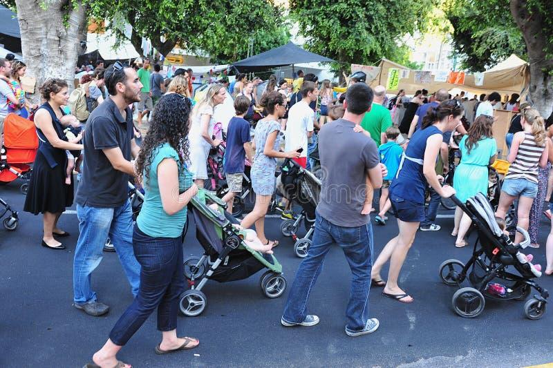 O estágio ?carrinhos de criança dos pais protesta? em Israel imagens de stock royalty free
