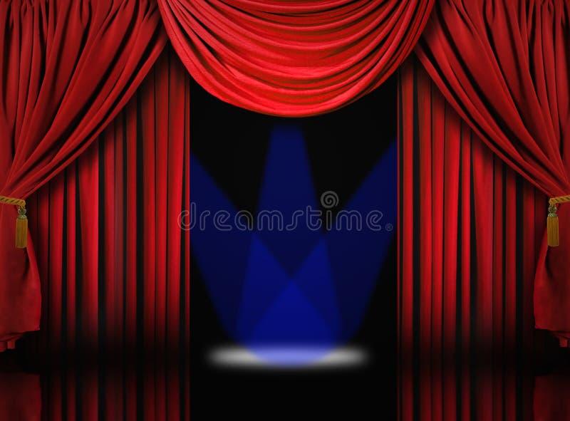 O estágio do teatro de veludo drapeja cortinas com ponto azul ilustração do vetor