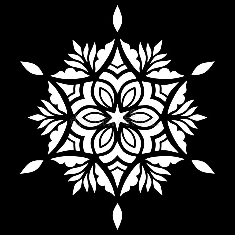 O estêncil branco da mandala do teste padrão rabisca o esboço ilustração do vetor