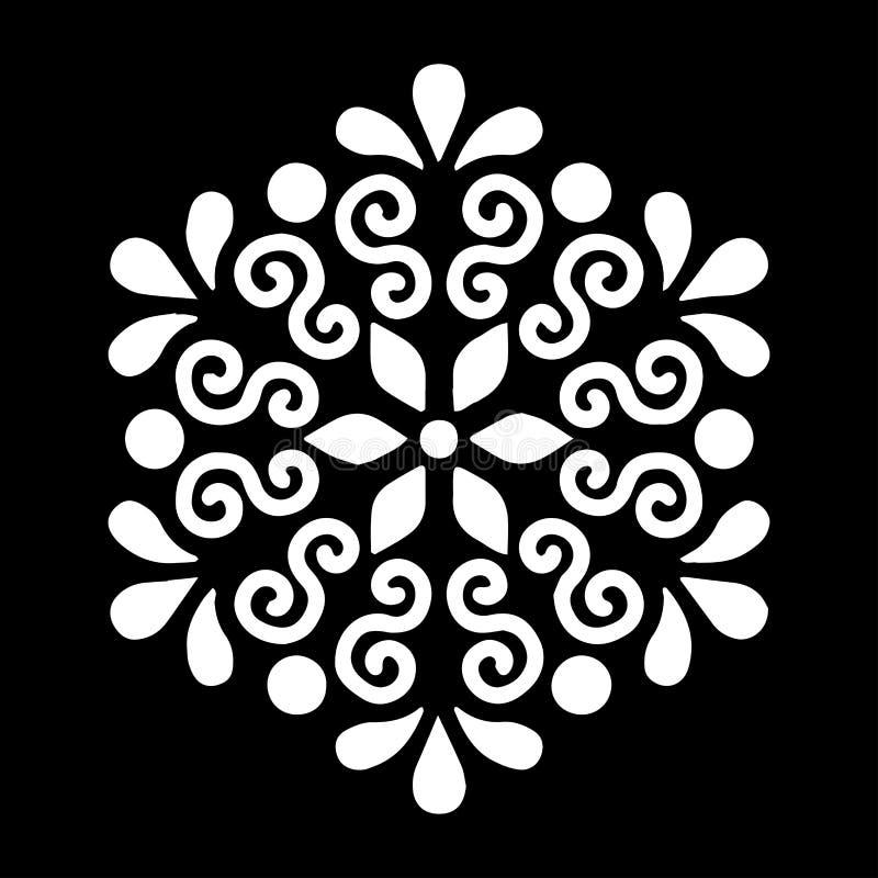 O estêncil branco da mandala do teste padrão rabisca o esboço ilustração royalty free