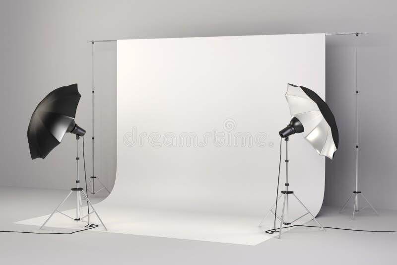 o estúdio 3d setup com luzes e fundo branco ilustração stock