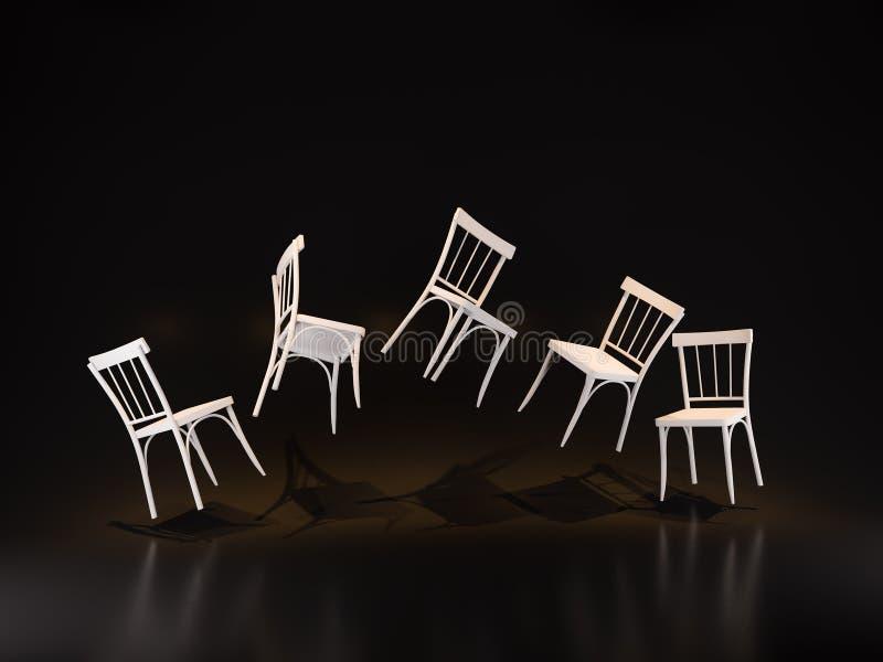 O estúdio de flutuação da cadeira/3D rende a imagem ilustração royalty free