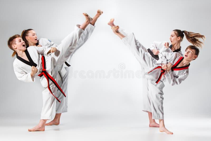 O estúdio disparou do grupo de crianças que treinam artes marciais do karaté fotografia de stock