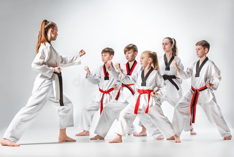 O estúdio disparou do grupo de crianças que treinam artes marciais do karaté foto de stock
