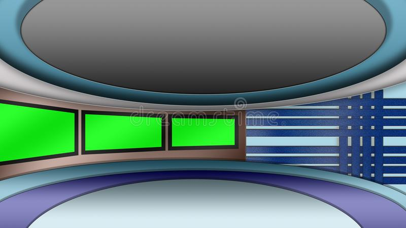 O estúdio virtual da notícia da tevê ajustou-se com telas verdes ilustração royalty free