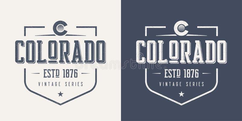 O estado de Colorado textured o desig do t-shirt e do fato do vetor do vintage ilustração royalty free