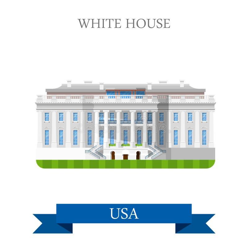 O Estados Unidos branco EUA do Washington DC da casa vector o plano ilustração royalty free