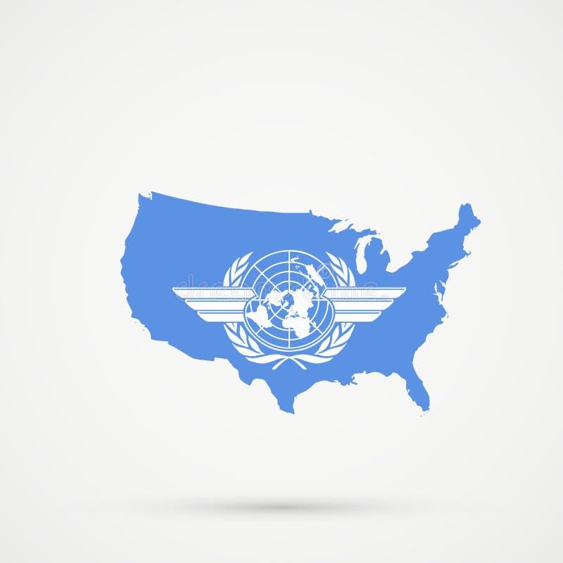 O Estados Unidos da América EUA traça em cores da bandeira da organização de aviação civil internacional ICAO, vetor editável ilustração do vetor