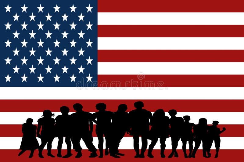 O Estados Unidos embandeira o grupo multicultural de diversidade da integração dos jovens isolado foto de stock royalty free