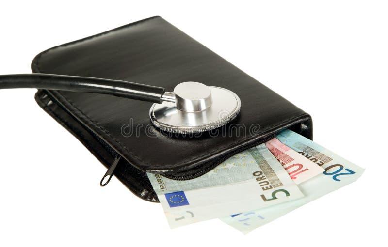 O estetoscópio está encontrando-se na bolsa fotografia de stock royalty free