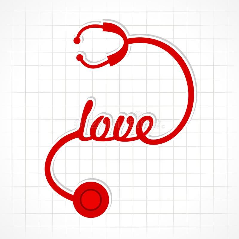O estetoscópio faz a palavra do amor ilustração do vetor