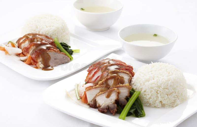 O estilo chinês roasted o pato e a carne de porco com arroz imagem de stock royalty free