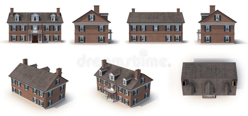 O estilo colonial da arquitetura do tijolo vermelho rende o grupo dos ângulos diferentes em um branco ilustração 3D ilustração do vetor