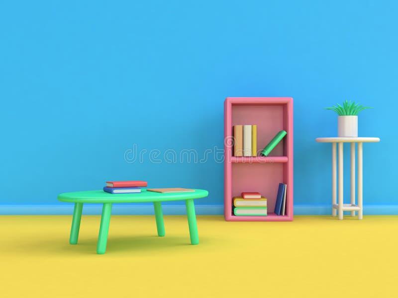 O estilo 3d dos desenhos animados do livro de tabela de japão da estante rende a cena amarela do assoalho da parede azul, conceit ilustração do vetor