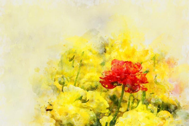 o estilo da aquarela e a imagem abstrata do botão de ouro florescem ilustração stock