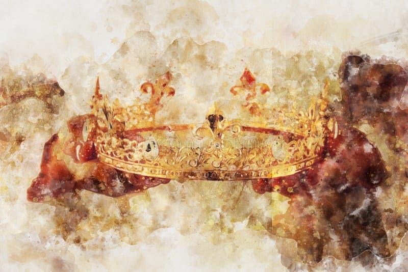 o estilo da aquarela e a imagem abstrata da senhora que guardam o ouro coroam período medieval da fantasia ilustração royalty free