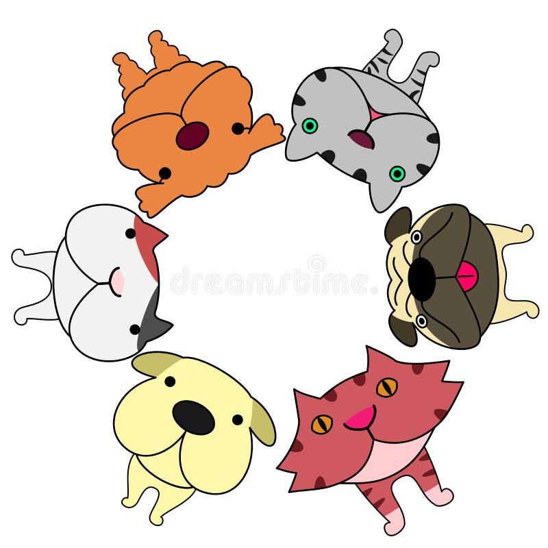 O estilo da lente de Fisheye persegue gatos do fand ace no círculo ilustração royalty free