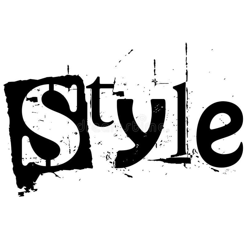 O estilo da palavra escrito no estilo do entalhe do grunge ilustração stock