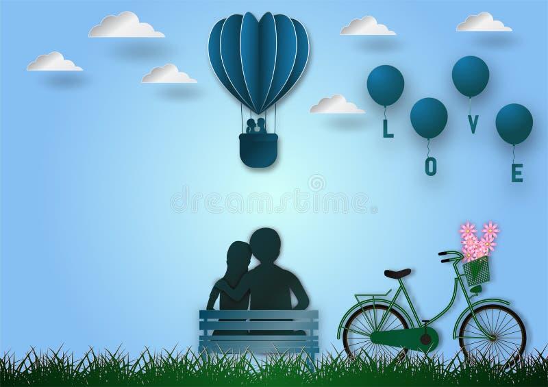 O estilo de papel da arte da forma dos balões do voo do coração com bicicleta e o texto amam no fundo azul, ilustração do vetor,  ilustração do vetor