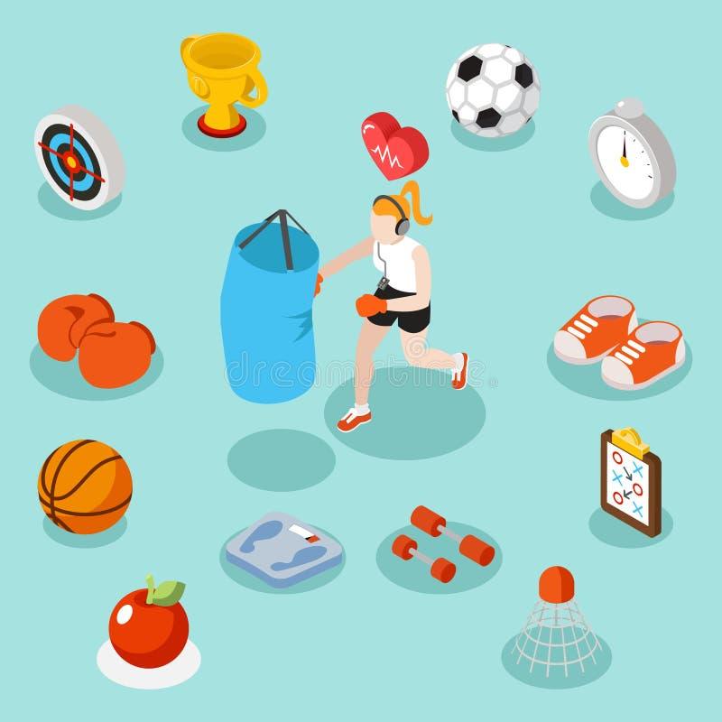O estilo de vida do esporte e a aptidão isométricos 3d liso vector o conceito ilustração stock