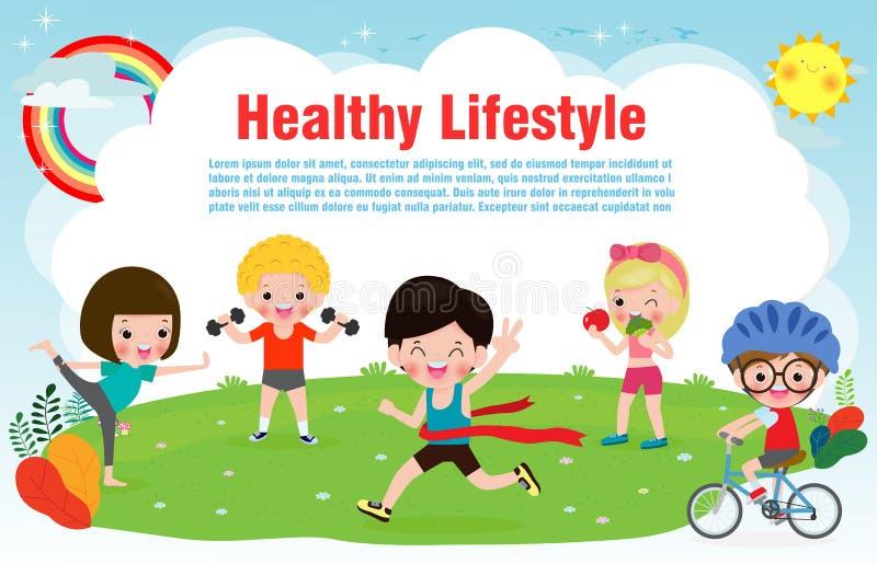 O estilo de vida saudável dos povos, crianças felizes exercita poses e asana da ioga para o projeto da aptidão com molde do texto ilustração stock