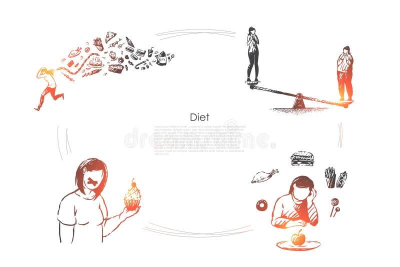 O estilo de vida saud?vel, perda de peso, calorias controla, mulher que come frutas e legumes, molde da bandeira do alimento do v ilustração royalty free
