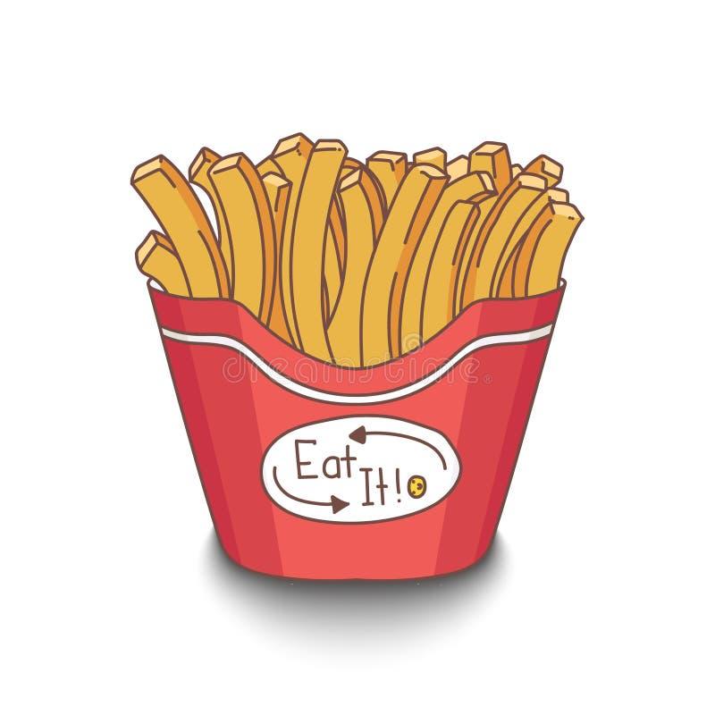 O estilo desenhado à mão bonito dos desenhos animados frita com sombra no fundo branco ilustração do vetor