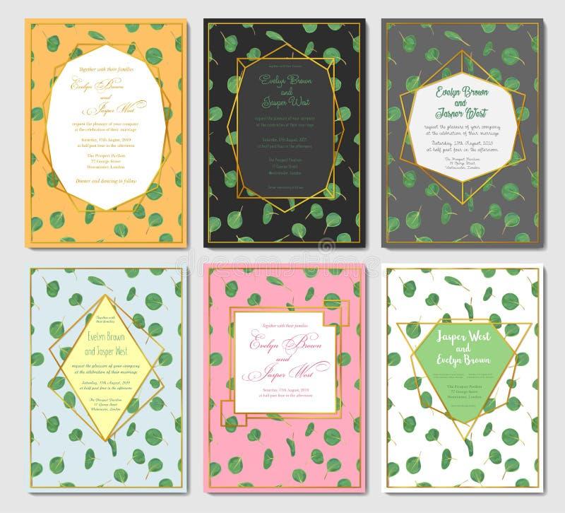 O estilo floral da aquarela do casamento convida, convite, projeto de cartão ilustração royalty free