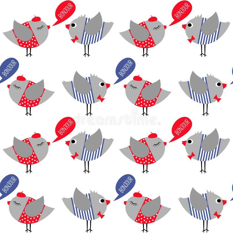 O estilo francês vestiu os pássaros que dizem o teste padrão sem emenda do bonjour (olá!) no fundo branco ilustração stock