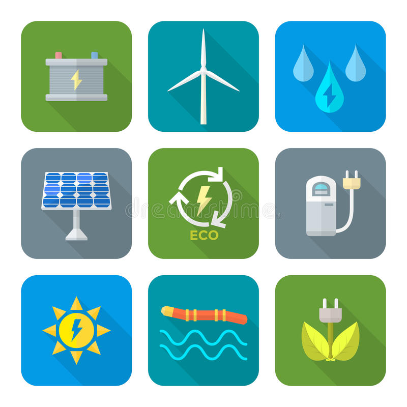 O estilo liso da cor recicla ícones da energia da ecologia ilustração stock