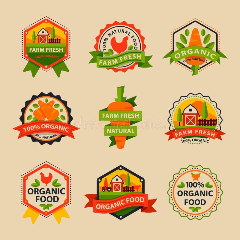 O estilo liso do molde saudável do logotipo da etiqueta do alimento do bio eco orgânico e o vegetariano do vintage cultivam o ele ilustração stock