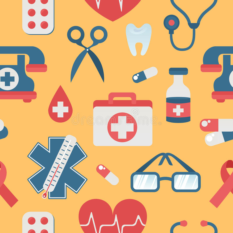 O estilo liso do teste padrão sem emenda médico com cuidados médicos objeta ilustração stock