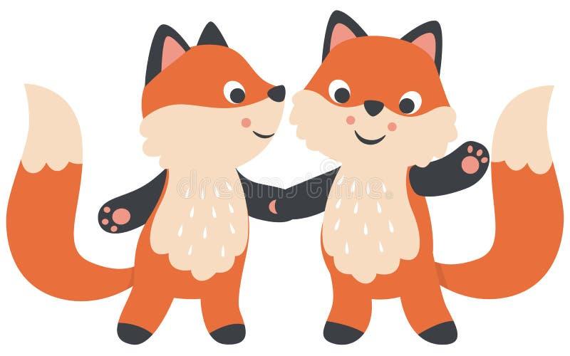 O estilo pequeno bonito de Kawaii Foxes os pares que mantêm a ilustração lisa do vetor do dia de Valentim das mãos isolada no bra ilustração do vetor