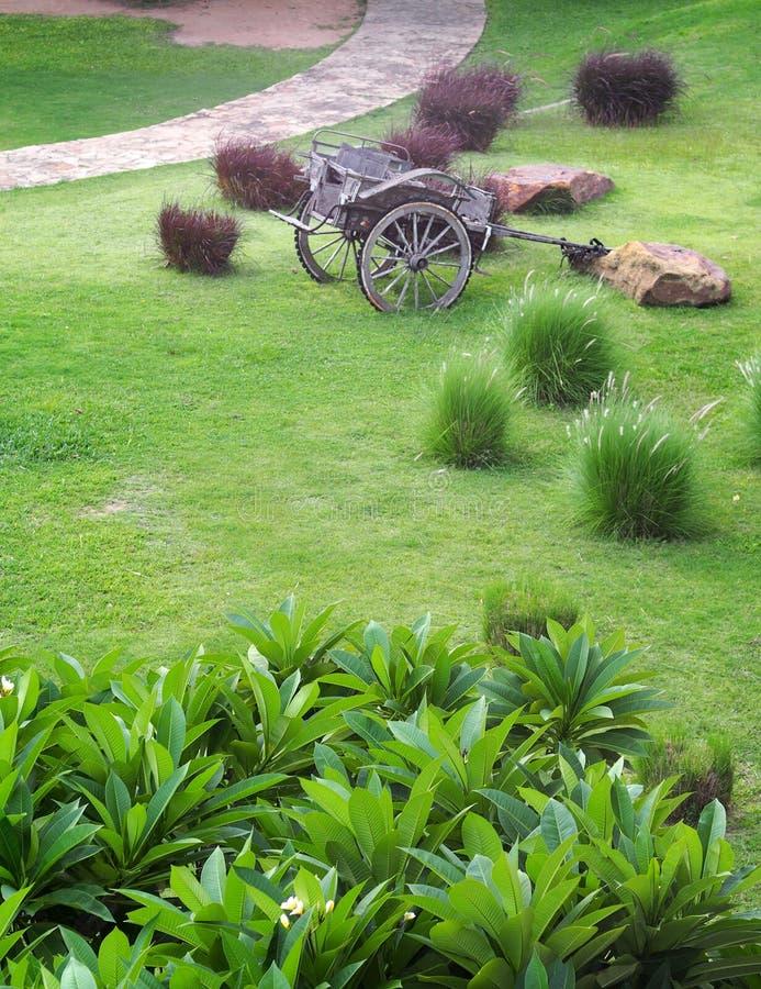 O estilo retro do vintage usou o carro de madeira do metal que está no jardim da grama verde imagem de stock