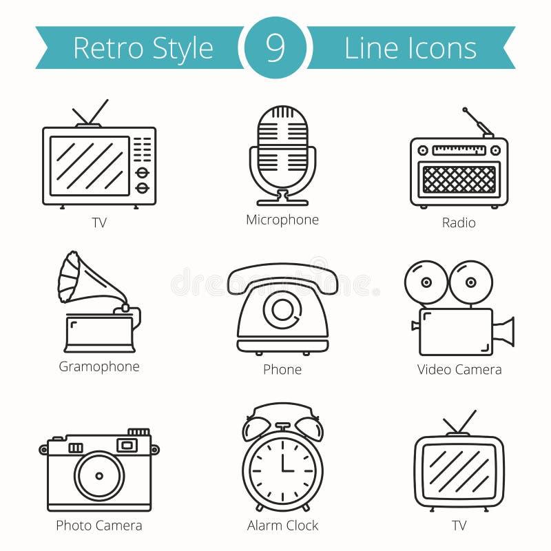 O estilo retro objeta a linha ícones ilustração stock