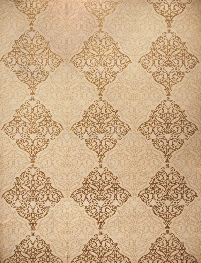 O estilo tailandês do teste padrão da arte no bacground do ouro para o interior decorativo, handcraft a matéria têxtil floral com ilustração royalty free