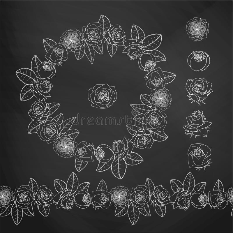 O estilo tirado m?o da garatuja aumentou flores envolve-se Ilustra??o floral do projeto element ilustração royalty free