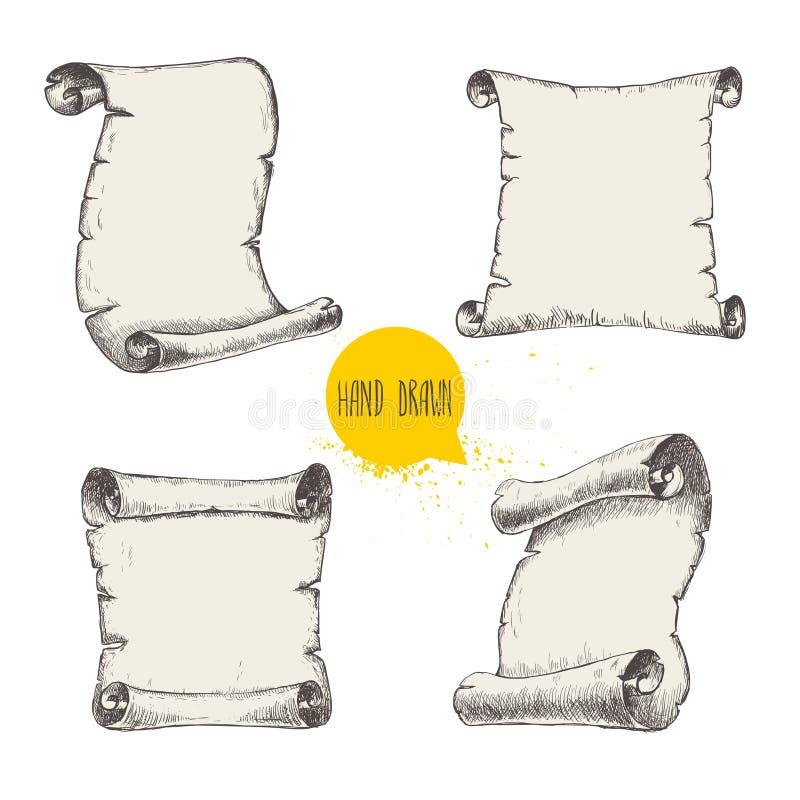 O estilo velho do esboço dos rolos ajustou-se no fundo branco ilustração stock