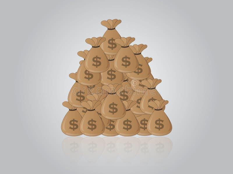 O estoque do dinheiro ensaca na ilustração do vetor dos dólares ilustração stock